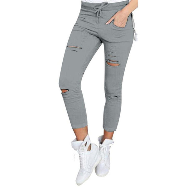 2018  High Waist Skinny Fashion Boyfriend Material Jeans for Hot Women Hole Vintage Girls Slim Ripped Denim Pencil Pants
