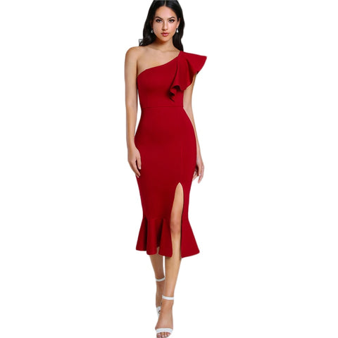 Slit Fishtail Summer Party Dress Sexy Flounce