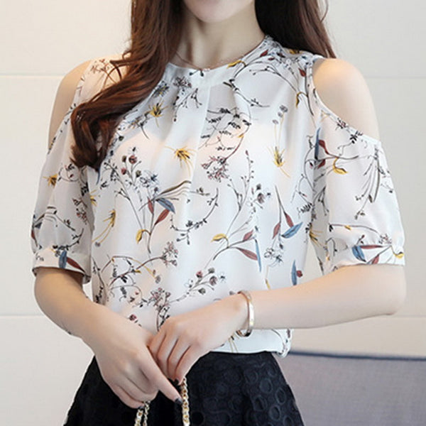 LASPERAL 2018 Summer Cold Shoulder Chiffon Floral Print Blouse Shirt Women Tops Elegant Plus Size Korea Blouses Blusas Female