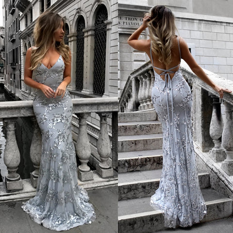 Women 2018 Sexy Backless Maxi Party Dress Strapless Sequined Summer Dress Vintage Slim Mermaid Dresses Female