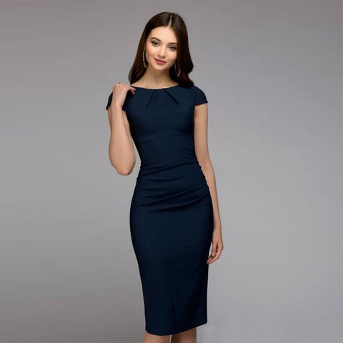 372355b26a Summer Dress 2018 Women Elegant Vintage Office Business Dress Solid Slim Short  Sleeve Sheath Party Dresses
