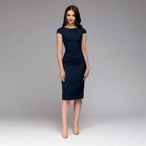 6e0e5d1e56c1 Summer Dress 2018 Women Elegant Vintage Office Business Dress Solid Slim  Short Sleeve Sheath Party Dresses