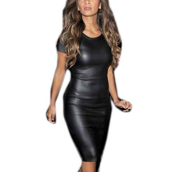 PU Leather Short Sleeve Bodycon Black Pencil Dress