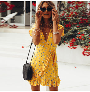 Women's Loose Short Sleeve V-Neck Ruffles Print Casual Yellow Summer Chiffon Beach Elegant Mini Dresses vestido