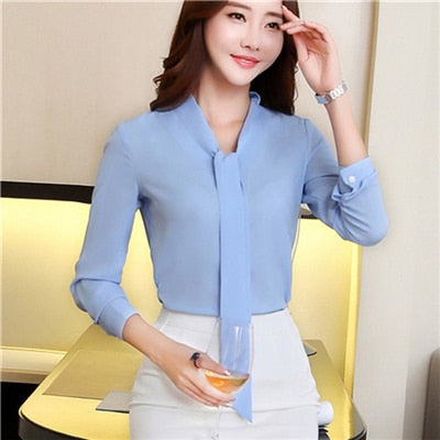 330826a7afd ... 2018 Spring fashion Sexy V-Neck women shirt Career temperament formal  long sleeve chiffon blouse ...