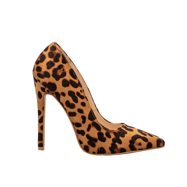 Leopard Casual Heels Women's Pumps Shoes Office Lady Pointed Toe Flock Sexy High Heels 12 cm Wedding Party