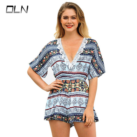 OLN Summer Beach Boho Print Deep V Neck Mid Waist Playsuits Women  Waist Frill Trim Floral Belted Rompers