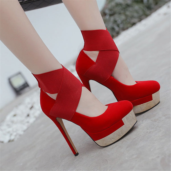 Women's  black red fashion spring autumn sexy ladies prom shoes platform super high heels round toe women high heels shoes