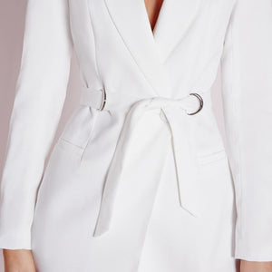 Solid White High Waist Casual Slim Jacket