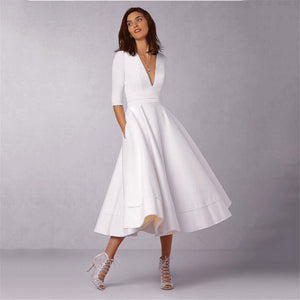 Women's 2018 Vintage Autumn Summer Dress Elegant Ball Gown Dress Female Sexy V Neck Long Dress Casual White