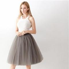 Women's fashion 5 Layers Midi A Line Tutu Tulle Skirt High Waist Pleated Skater Skirts Womens Vintage Lolita Ball Gown Summer