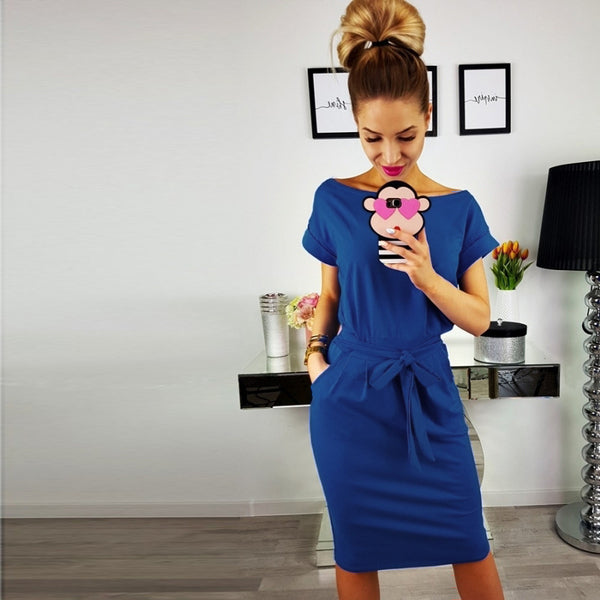 2018 New Women's Summer Dress Casual Vintage Dress Sexy Bandage Short Sleeve Dresses Sundress Ladies O Neck Solid Dress