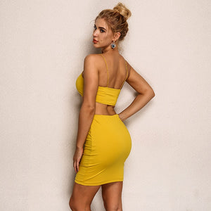 Women's Two Piece Dress Summer Fashion Condole Sleeveless Dew Waist Show Hilum And Knee Mini Skirt