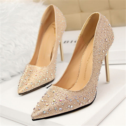 2018 Fashion New Women Pumps Classic Sequined Shallow Women High Heels Sexy Pointed 10cm Wedding shoes party Women Shoes