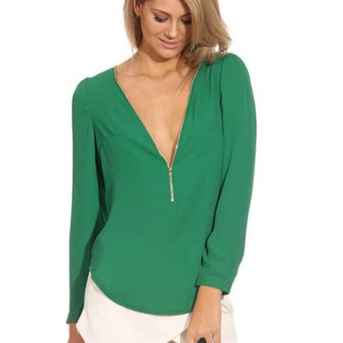 Women's Fashion  Blusa Shirt Blouse Casual Green V Neck Long Sleeve Zipper Top