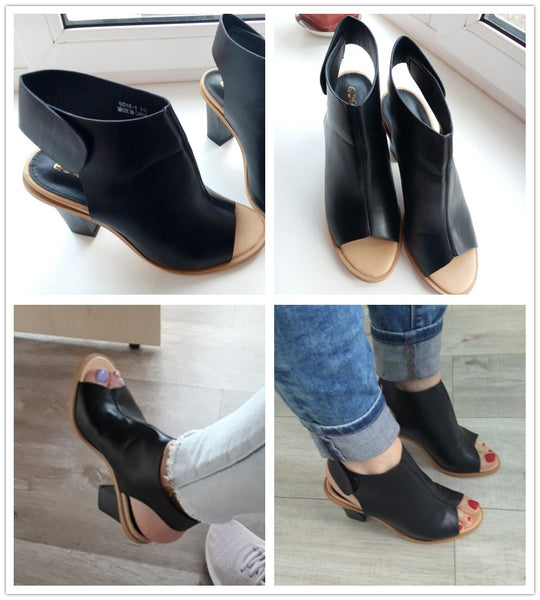 Women's Spring Fashion Shoes Slingbacks Hook Loop Thick Heel Dress Shoes Ladies Brand Designer High Heel Pumps Open Toe