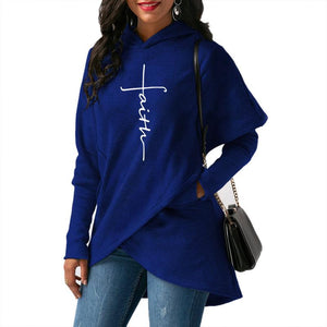 2018 New Fashion Faith Print Hoodies Women Tops Sweatshirts Clothings Cotton Corduroy Bts Street Thick Sweet Pullovers Plus