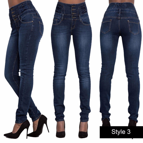 2018 New Slim Stretch High Waist Skinny Pants Women Jeans Autumn and winter women sexy high waist body big elastic little feet jeans1