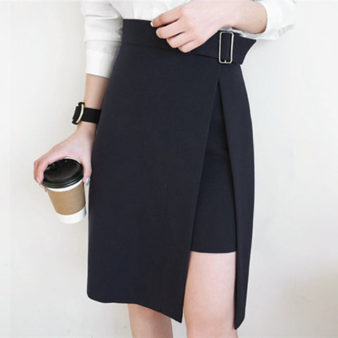 AUFYSO Skirts Womens 2018 Autumn Korean Style Office Lady Elegant Side Split Asymmetrical Slim High Waist Midi Skirt Black B139