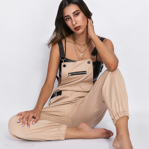 Women's Khaki Rompers Jumpsuit Long Elegant Zipper Pockets Sleevless Adjusted Strap High Waist Cotton Fashion Summer