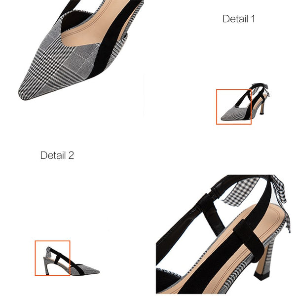 Women's Plaid High Heel Pumps Elegant Butterfly-knot Pointed Toe Thin Heel Slip-On Office Ladies Shoes