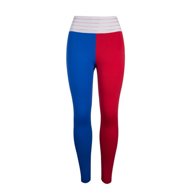2018 New Women's Fitness Pants Fashion Street Wear Workout Leggings For Women Lady Sexy Leggings Red Blue Patchwork