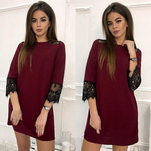 Women's 2018 Spring Autumn Party Club Mini Dresses 3/4 Sleeve Fashion Lace Stitching Casual Dress Women's O-Neck Loose Straight Dress