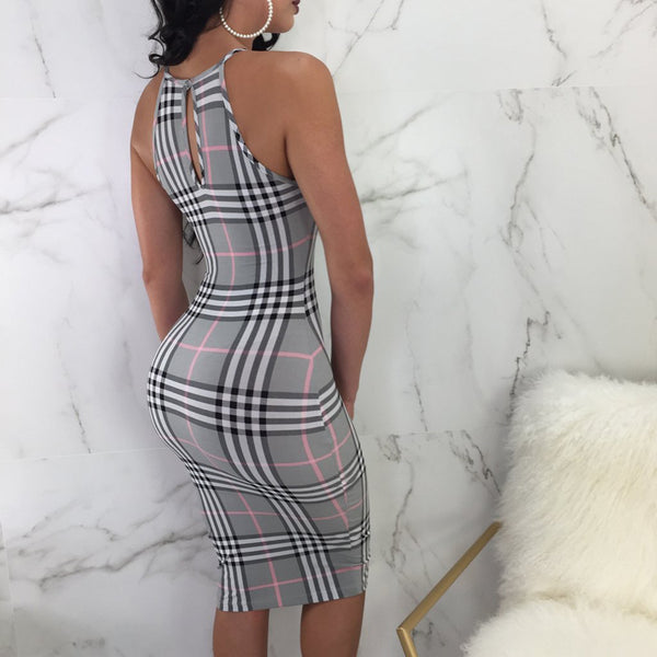Sleeveless Plaid Office Dress