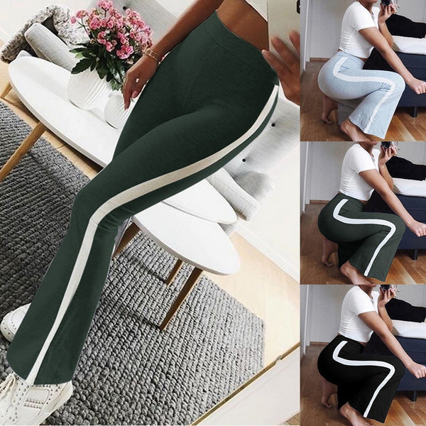 Laamei Casual Striped Pants Women High Waist Elastic Solid Capris Pant Fashion Street Trousers Loose Ladies Wide Leg Pant Femme