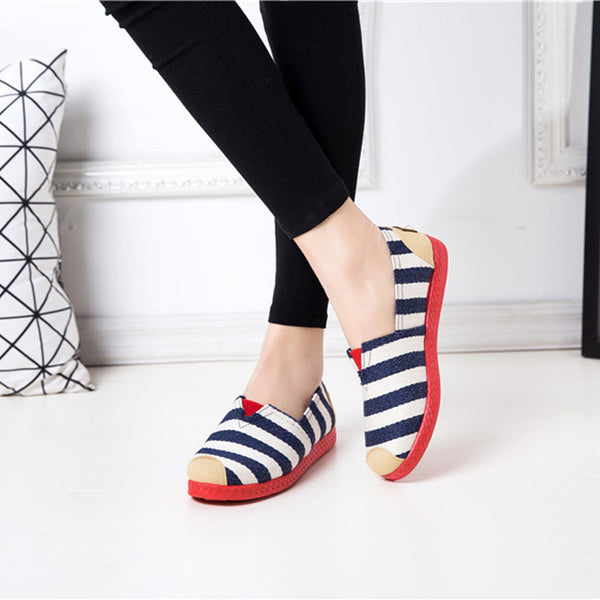 Breathable Cotton Canvas Shoes Printing Flats Summer Loafers