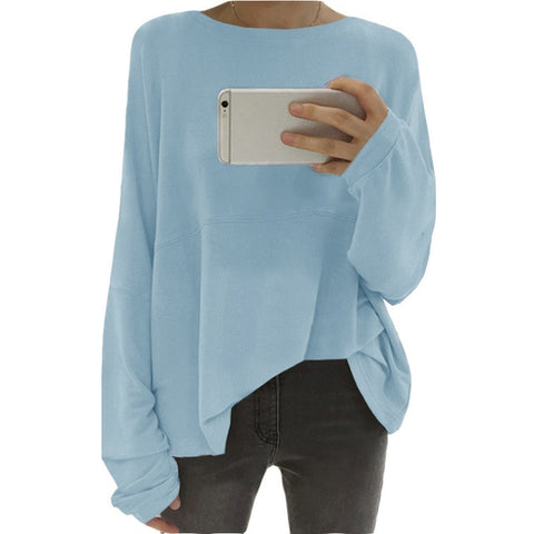 Women's Autumn Winter Fashion Solid Color Pullover Tops Womens Long Sleeve Casual Sweatshirt Plus Size Baisc Shirts Streetwear