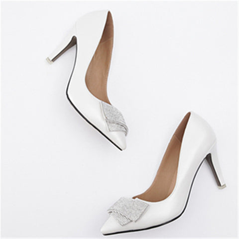 Women's fashion elegant high quality  leather women pumps stiletto high heels pointed toe party shoes woman
