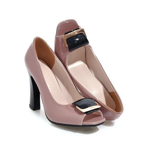 2018 New Arrival women pumps spring summer comfortable shallow simple peep toe black Pink size 34-40 high heels shoes