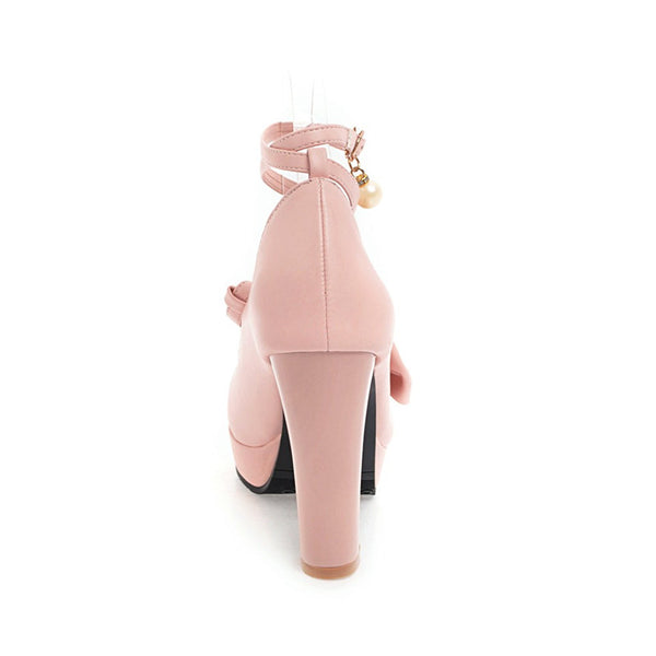 2018 New Fashion Women Mary Janes Pumps Cross Tied Bowknot Square High Heels Sweet Shoes Pearl Platform ankle strap Pump
