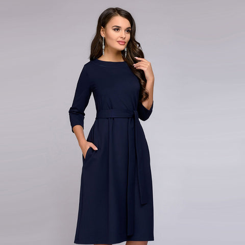 2018 New Autumn Vintage Women O-Neck Sashes Straight Dress Ladies Long Sleeve Solid Midi Dresses Fashion Chic Female Party Dress