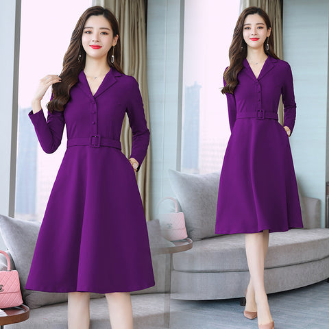 Fashion 2018 New Autumn Winter Women Dresses Plus Size Long Sleeve Slim Elegant Dress Notched Collar Office Work Lady Dress