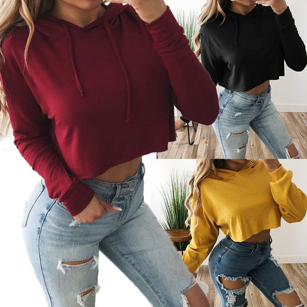 2018 Women's Autumn Winter New Women Hoodies Sweatshirt Sexy Long Sleeve Lace Up Loose Hooded Casual Crop Top Sudaderas Mujer