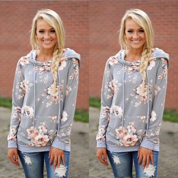 2018 Women's  Print Pullovers Sweatshirt Women Hoodies Front Pocket Sweatshirt Hooded Casual Cotton Autumn Fashion Hoodies