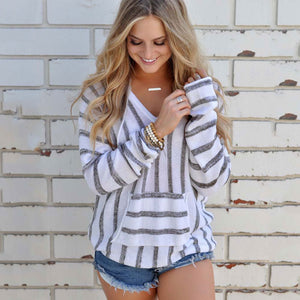 Autumn Winter Hoodies Knitted Sweatshirt Women Long Sleeve Loose Striped Warm Hooded Sweatshirt Female Knitwear Jumper Pullover