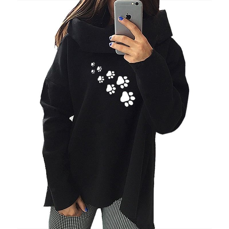 2018 New Fashion Dog Paw Print Hoodies Women Sweatshirts Tops Bts Pockets Funny Loose Buckle Creative