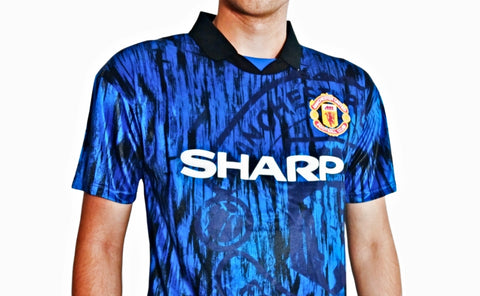 man united 1992 blue retro football shirt