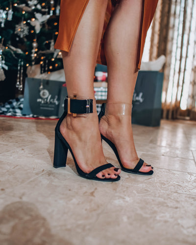 Boss Babe Ankle Band Heel- Black/Clear