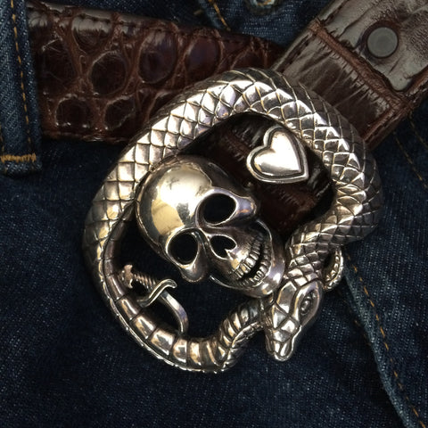 "Well Worn #1314 Sterling Buckle - ""Love and Death"""