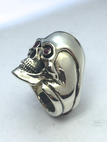 Custom Skull Ring with Ruby Eyes