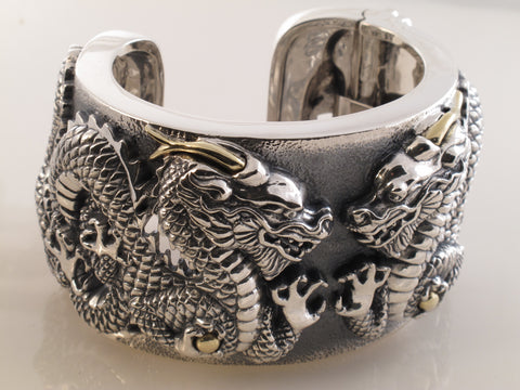 Wide Cuff with Double Dragons, Sterling with 18kt