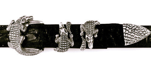 Sterling Single Alligator 4 pc. buckle set