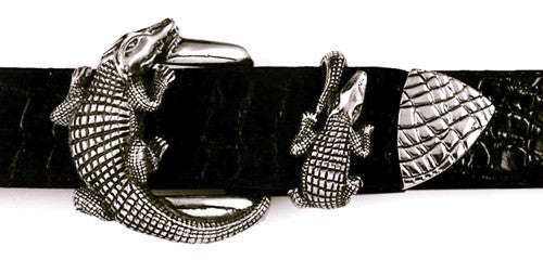 Sterling Alligator 3 pc. buckle set