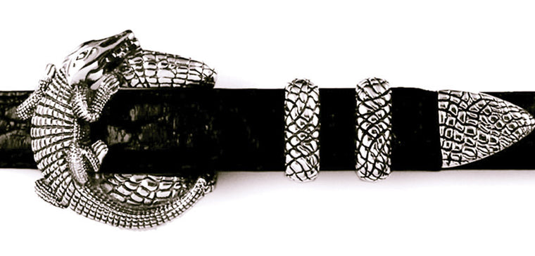 Sterling Alligator 4 pc. buckle set