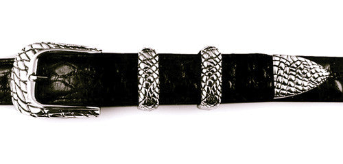 Sterling Alligator Skin Pattern 4 Pc. Buckle Set