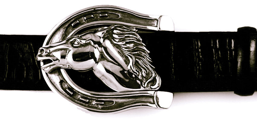 Sterling Horse in Horseshoe Trophy Buckle